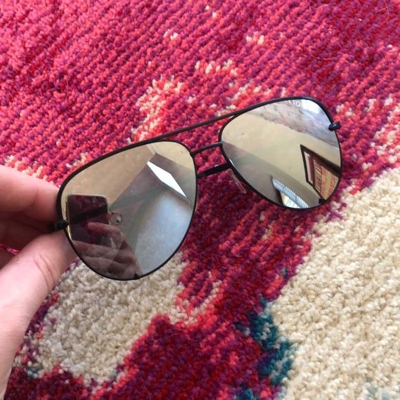 Quay x Desi High Key Silver Aviator Sunglasses